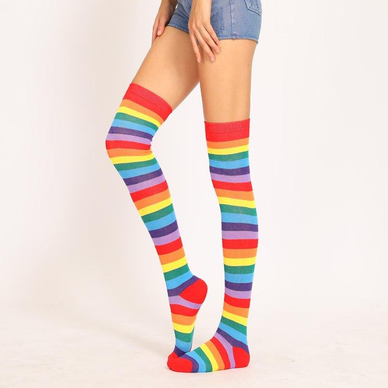 Чулки женские хлопковые выше колена, модные повседневные пикантные, Длинные радужные морские, для косплея, для девочек, летние