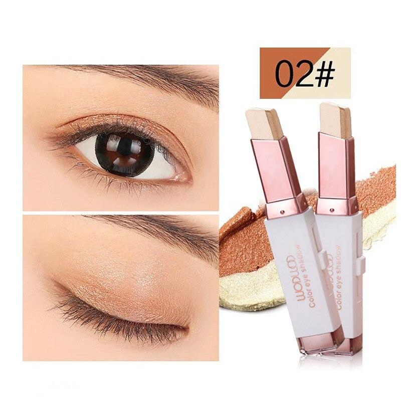 Professionelle Doppel Farbe Gradienten Samt Augen Make-Up Schatten Stick Wasserdicht Schimmer Metallic Lidschatten Make-Up