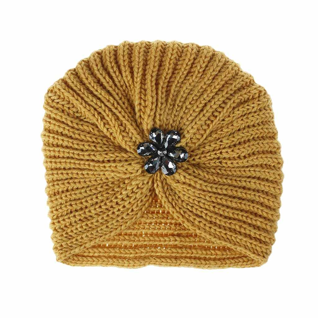 Femmes chapeau fedora a casquette femmes chapeaux filles garder au chaud hiver cristal fleur tricoté chapeau laine ourlet chapeau Ski chapeau czapka zimowa