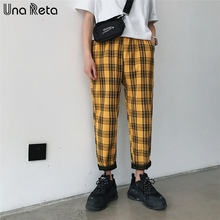 Una Reta Streetwear Plaid Joggers mężczyźni casualowe kieszenie spodnie męskie Hip Hop Plus rozmiar Cargo spodnie proste spodnie dresowe Pantalon tanie tanio Ołówek spodnie Mieszkanie Poliester COTTON REGULAR 0 - 0 Pełnej długości B426 Midweight Suknem Elastyczny pas Gift