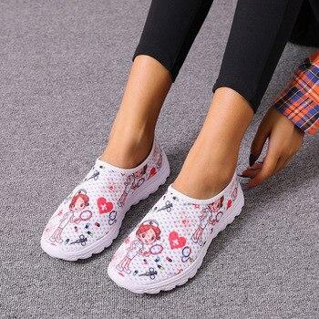 GHJIOL-zapatillas de deporte con estampado de enfermera para mujer, Zapatos Planos transpirables...