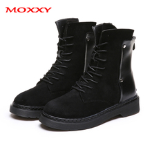 2019 New Western Boots Cowboy Women Black Lace Up Punk Gothic Ankle Martin Shoes Suede Fur Fall Winter