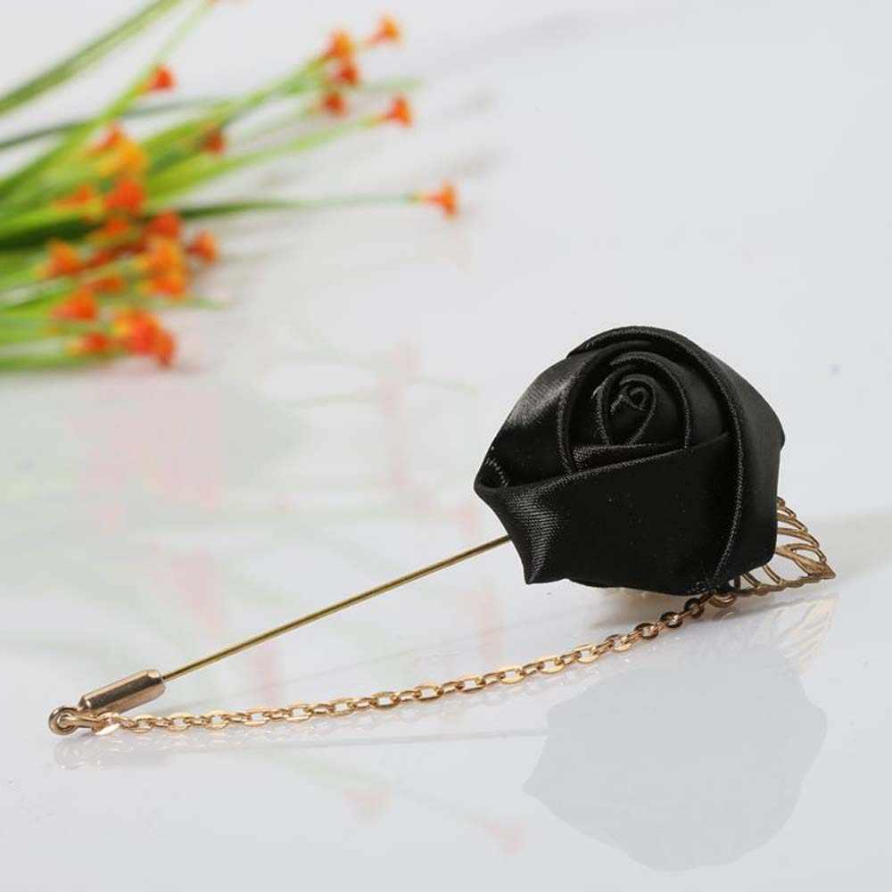 Men/'s Suit Rose Flower Brooch Pins Ribbon Tie for Women Men Clothing Accessories