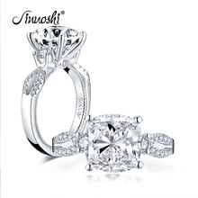 AINUOSHI 925 Sterling Silver 5.0 Carat Big Cushion Cut Engagement Ring Simulated Diamond Wedding Silver Ring Jewelry Gifts(China)