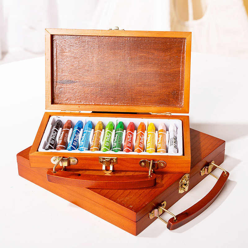 12/24 Colors Non-toxic Oil Pastels Oil Soft Crayon Set With Wooden Box For Kids Children Graffiti Painting School Art Supplies