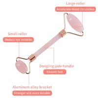 Rose Quartz Powder Crystal Jade Roller Massage Spa Natural Pink Handmade Gua Sha Stone Facial Beauty Device Face Skin Care Tool 5