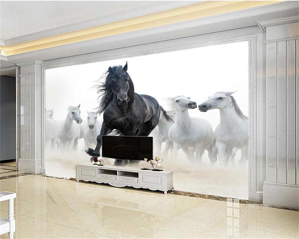 Image 2 - Custom 3d Mural Wallpaper European Style Eight Horse Figure TV Background Bound  Wall Painting WallpaperWallpapers   -