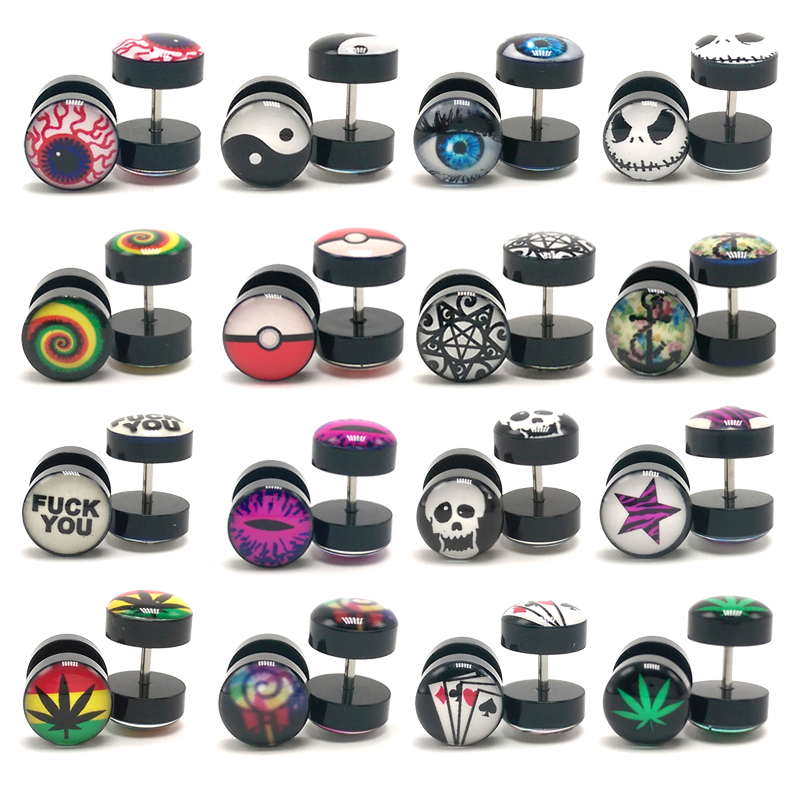 2Pcs New Earings Fashion Jewelry Women's Ear Stud Barbell Piercing Punk Men Earrings Black