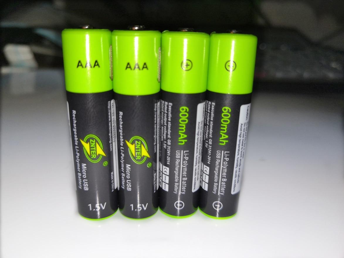 Купить 4 шт/лот znter mirco usb аккумуляторная батарея 15 в aaa 600