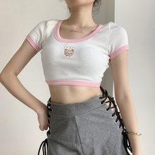 GOTH GIRL Sweet Cute T-shirt Femme Cartoon Embroidered O-neck Short Sleeve Crop Top Tees Japanese Ins Style Summer T Shirt Women