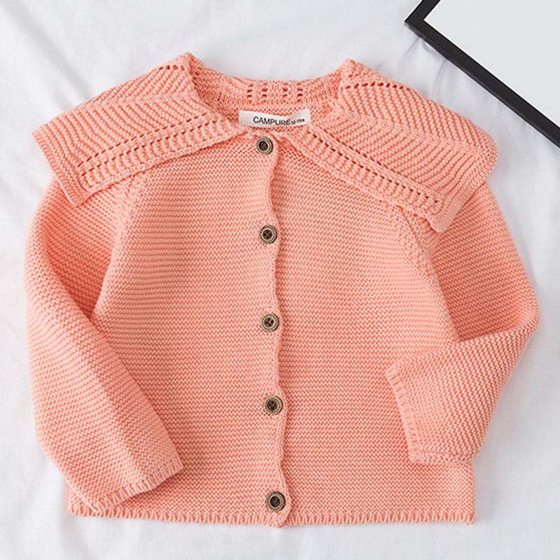 Baby Girls Cardigan 0-3 Years Old Baby Sweater Autumn Winter Lotus Leaf Collar Solid Color Children's Sweater Kids Baby Cardigan 5