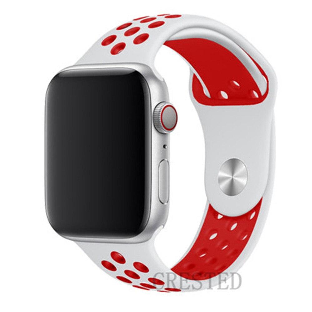 Спортивный ремешок для apple watch band 44 мм/40 мм apple watch 5 4 3 band iwatch band 5 42 мм/38 мм correa браслет ремень аксессуары для часов - Цвет ремешка: White Red
