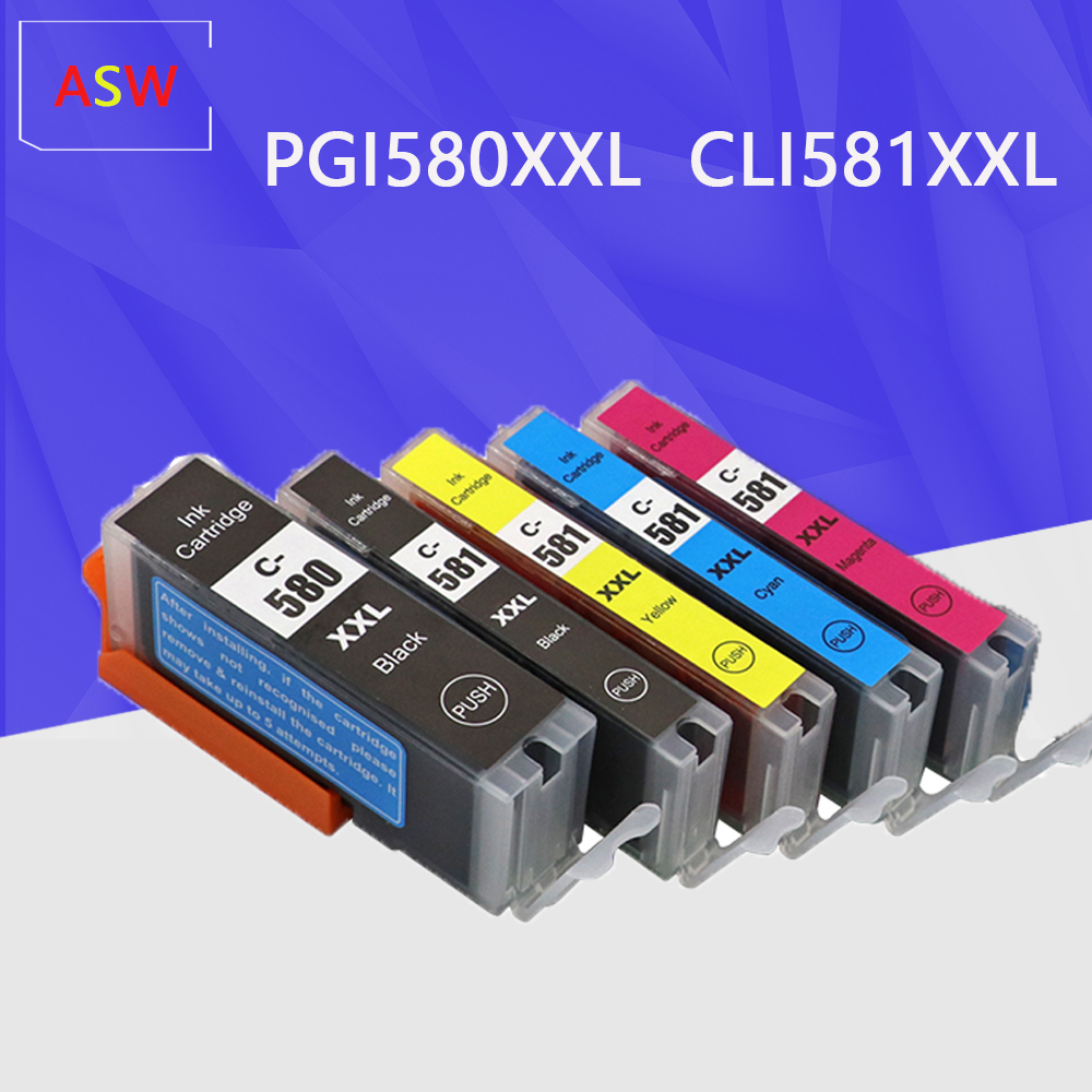 PGI-<font><b>580</b></font> CLI-581 PGI-580XXL CLI-581XXL Ink Cartridges Compatible <font><b>Canon</b></font> <font><b>580</b></font> 581 580XXL 581XXL Work with <font><b>Canon</b></font> Pixma TS8150 TS8151 image