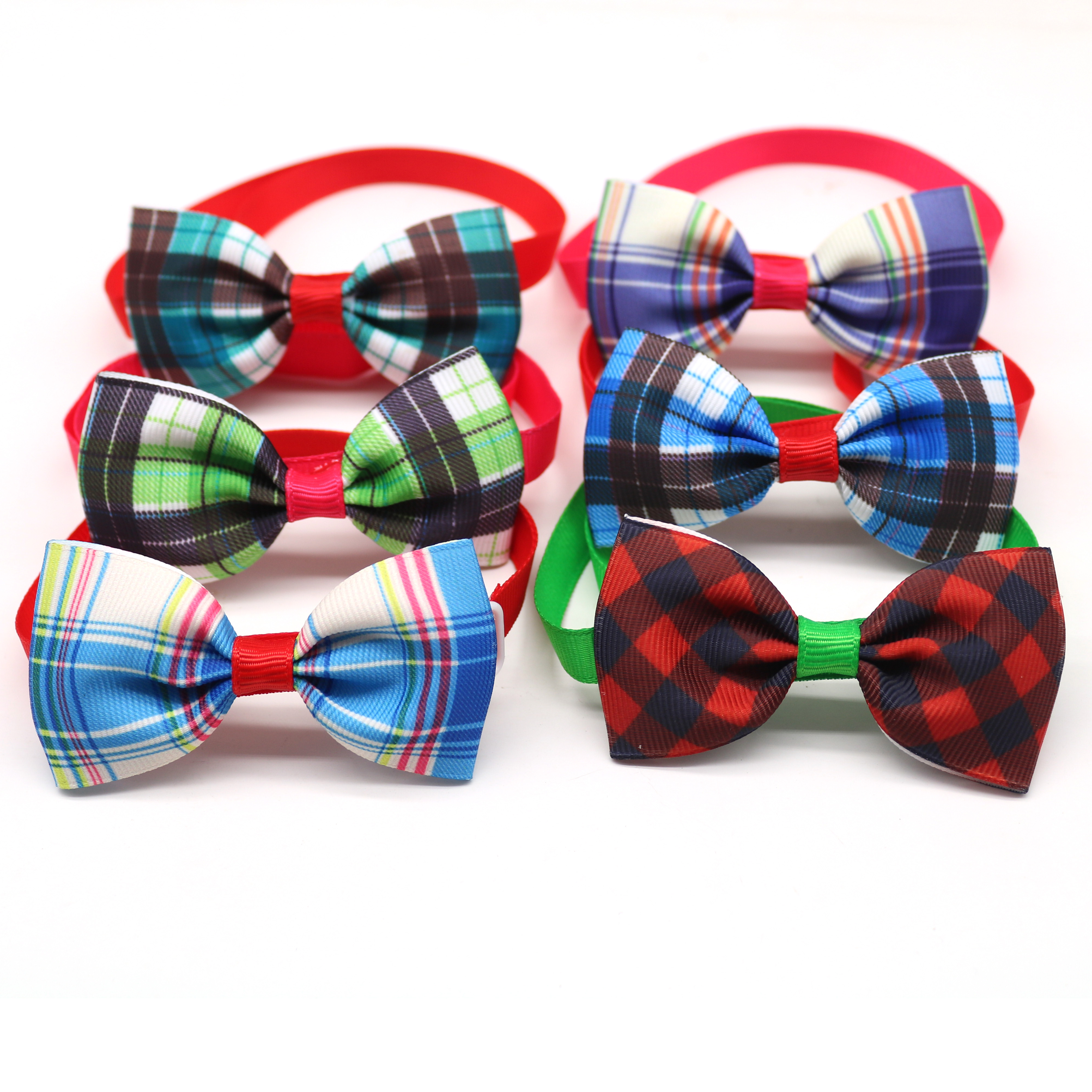 60 Pcs font b Pet b font Supplier Grid Design Dog Cat Bow Tie Adjustable Dog