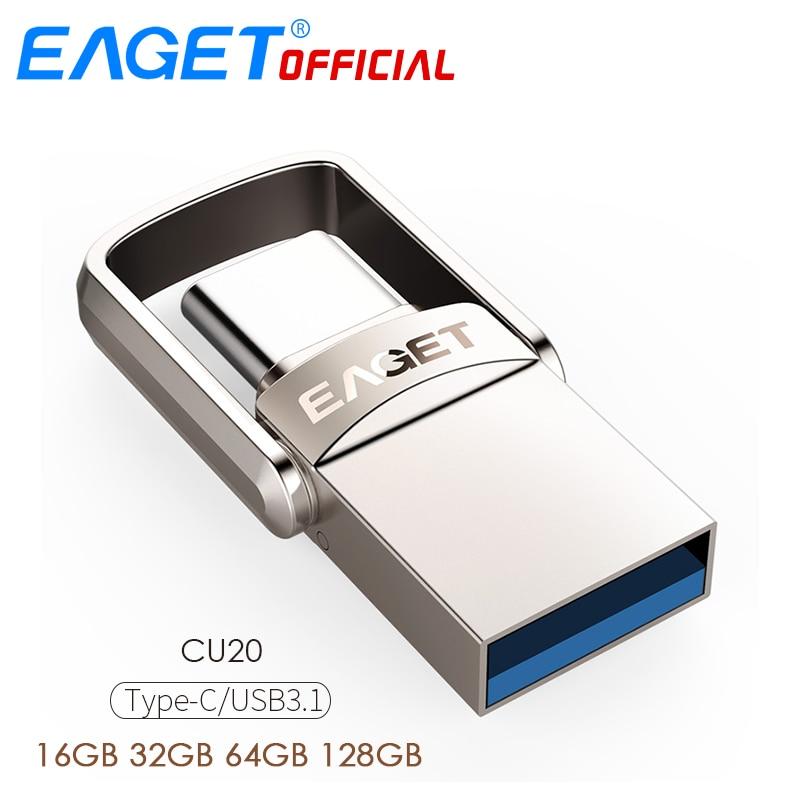 EAGET CU20 USB Flash Drive 32GB OTG Metal USB 3.0 Pen Drive  64GB Type C High Speed Pendrive Mini Flash Drive Memory Stick