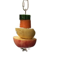 Bird Food Holder, Bird Feeders, Stainless Steel Parrot Fruit Vegetable Stick Holder, Foraging Toy, Bird Treat Skewer S(China)