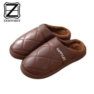 Image 1 - ZXWFOBEY الرجال النساء أحذية دافئة المنزل حذاء للحديقة الفراء اصطف الشرائح داخلي خف جلدي أحذية الشتاء