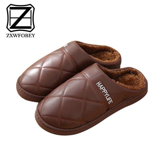 ZXWFOBEY الرجال النساء أحذية دافئة المنزل حذاء للحديقة الفراء اصطف الشرائح داخلي خف جلدي أحذية الشتاء