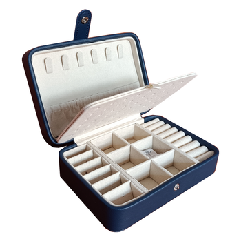 New 2021 Leather Portable Jewelry Box Double Simple Earrings Ring Jewelry Casket  Can Hold 68 Earrings 1