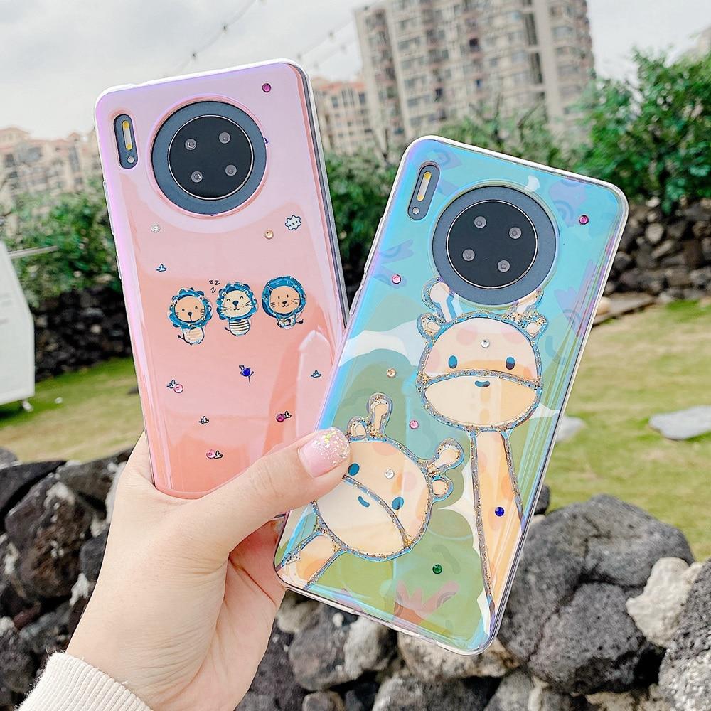 Cute Animal Giraffe Lion Phone Case For Huawei P30 Pro Mate 20 30 Mate30 P20 Pro Mate20 Rhinestone Thin Soft Rubber Glossy Cover