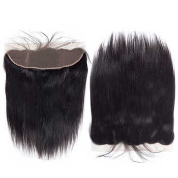 Brazilian Straight Hair Bundles With Frontal Human Hair 3 Bundles With Closure Non-remy QThair 13*4 Lace Frontal With Baby Hair