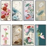 Cuadro de arte de pared para decoración de hogar familiar, lienzo impreso, Vintage, peonía de loto, estilo chino, póster de letras