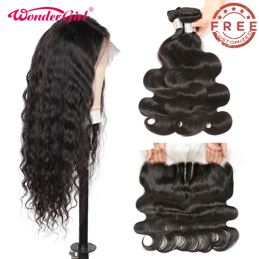 Free Customized Body Wave Lace Front Wig Pre Plucked 300 Density By Remy Brazilian Body Wave Human Hair Bundles With Frontal