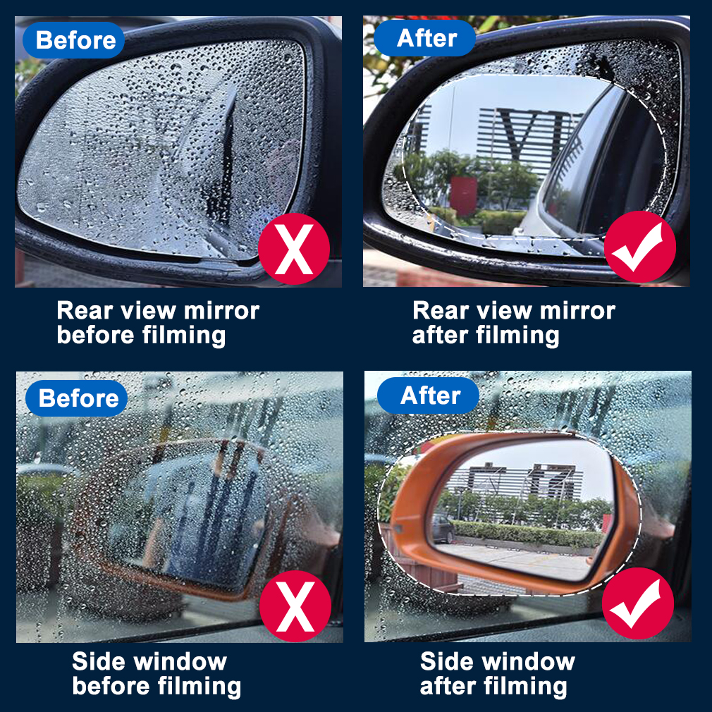 Image 3 - 2PCS Anti Fog Car Mirror Window Clear Film Anti glare Car Rearview Mirror Protective Film Waterproof Rainproof Car Sticker-in Decorative Foil & Tattoos from Automobiles & Motorcycles