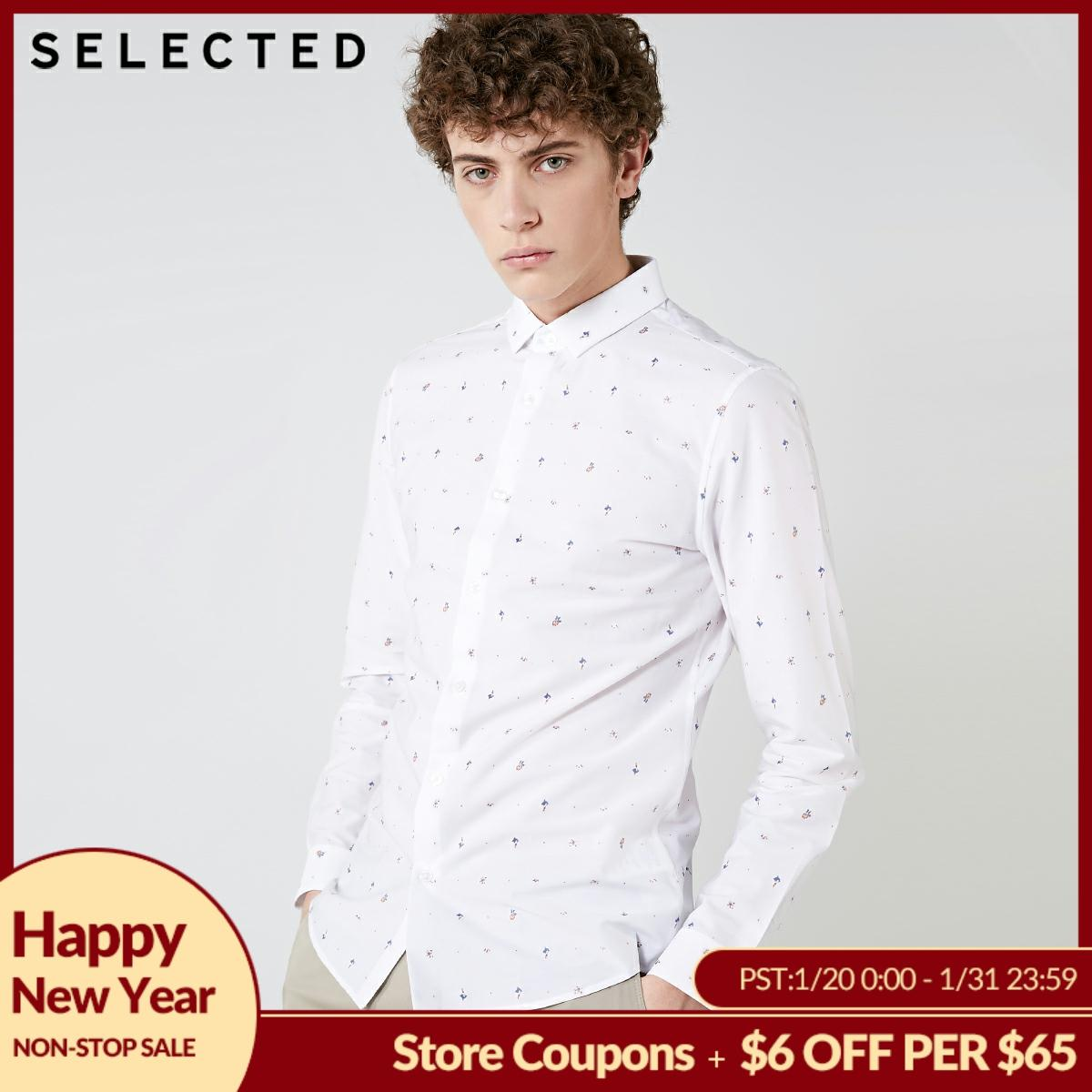 SELECTED, The New Male Contain Cotton Embroidery Business And Leisure  Long Sleeve Shirt S   418405554