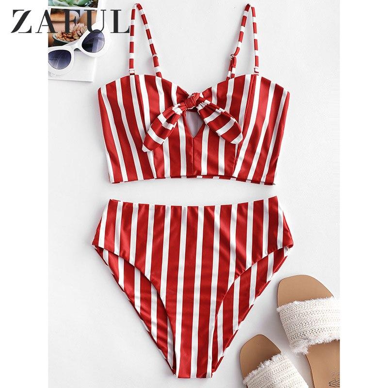 ZAFUL Striped Knotted High Waisted Tankini Swimwear Bikini