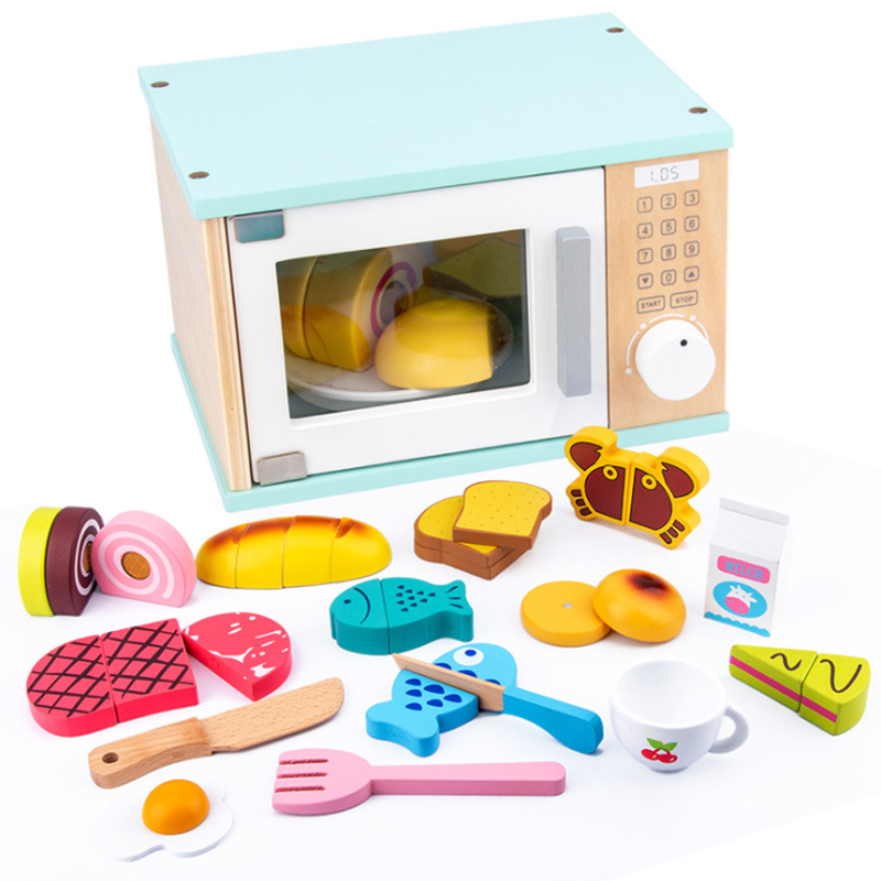 Wooden Toy Children Kid Mini Cute Microwave Oven Pretend Role Play Toy Educational For Children Playing Kitchen Toy Gift D250