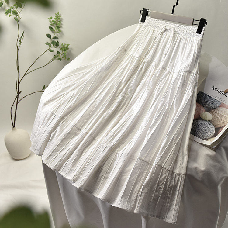 2020 Women Summer A-Line Cotton Material Skirt Stretch High Waist Women Boho White Skirt With Lining Faldas Jupe Femme Saia