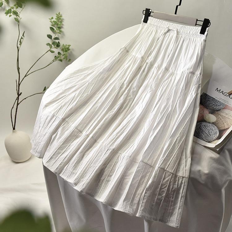 2020 Women Summer A-Line Cotton Material Skirt Stretch High Waist Women Boho White Skirt With Lining Faldas Jupe Femme Saia