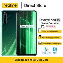 Versão global realme x50 5g smartphone 6gb 128gb 6.57 hz 120hz exibição snapdragon 765g 48mp quad câmeras traseiras 4200mah celular