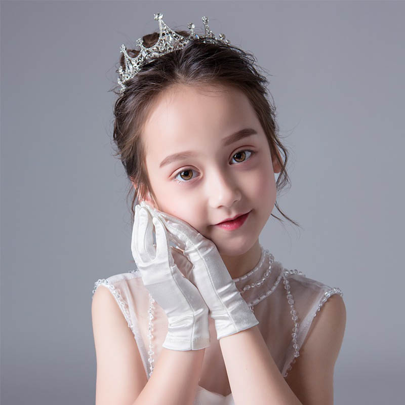 Short Satin Gloves For Children Ivory Wedding Gloves Flower Girls Dress Gloves For Birthday Party Stage Performance