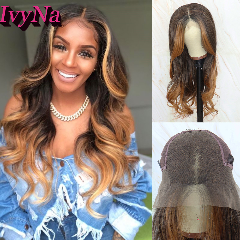 IvyNa Brown Highlight Synthetic Lace Front Wigs 13x6 Futura Heat Resistant Lace Front Wigs For Women Long Loose Wave Lace Wigs