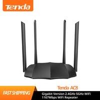 Tenda Router AC8 Gigabit Versione 2.4GHz 5GHz WiFi 1167Mbps Ripetitore WiFi 128MB DDR3 Ad Alto Guadagno 4 antenne di Rete Extender