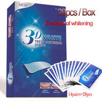 28pcs 3D Advanced White Gel Teeth Whitening Strips Stain Removal Oral Hygiene Care Double Elastic Teeth Strips Bleaching Tools