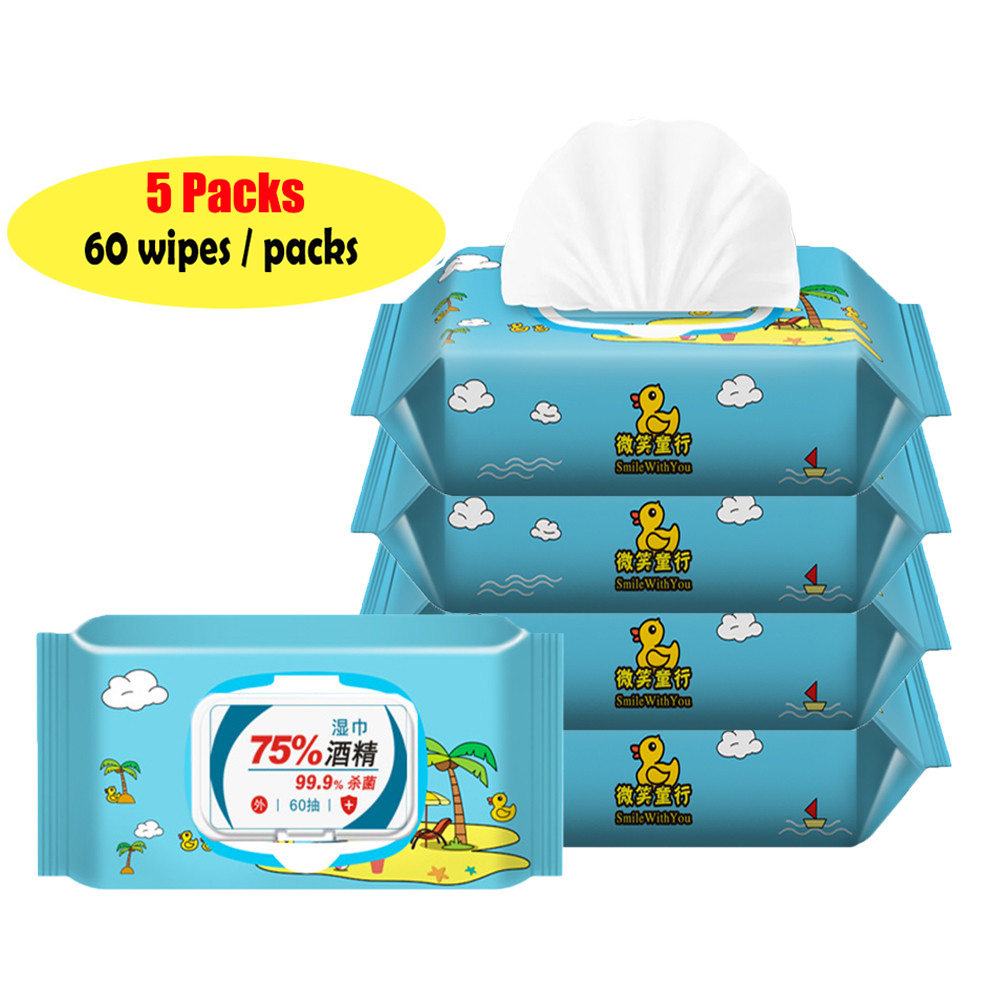 60pcs / Pack 75% Alcohol Portable Hand Wipes Disposable Antibacterial Wet Wipes Antiseptic Wipes Hand Cleaning For Family Adults