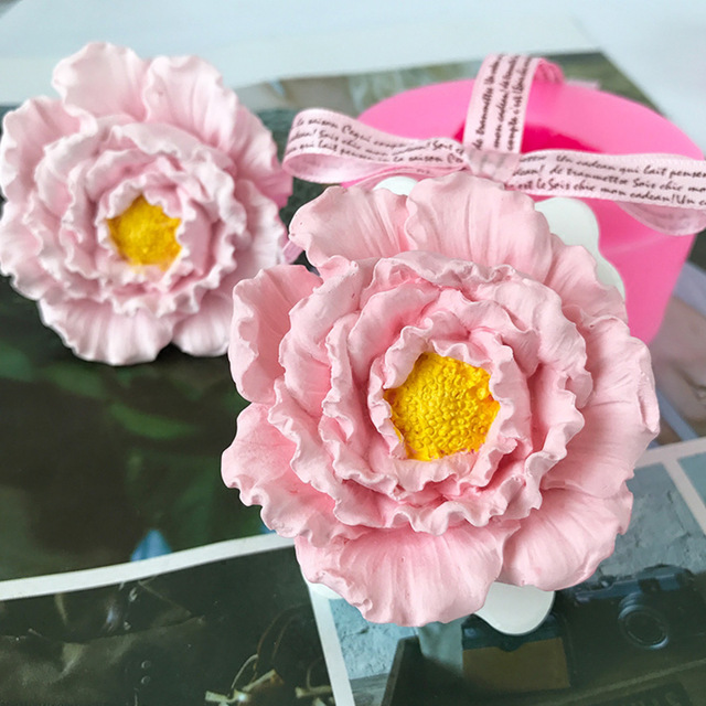 Peony Flower Rose Flower Silicone Mold Handmade Flower Candle Mould DIY Soap Mold Aroma Plaster Car Pendant Mould Home Decor