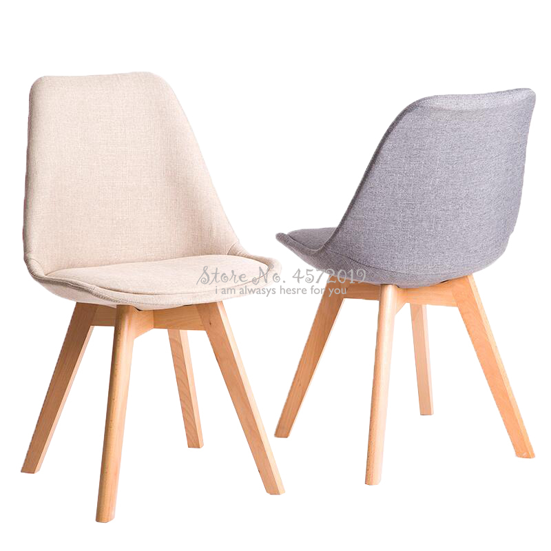 Modern Nordic Home Dining Chair Minimalist Solid Wood Desk Chair Leisure Chair Fabric To Discuss Chairs