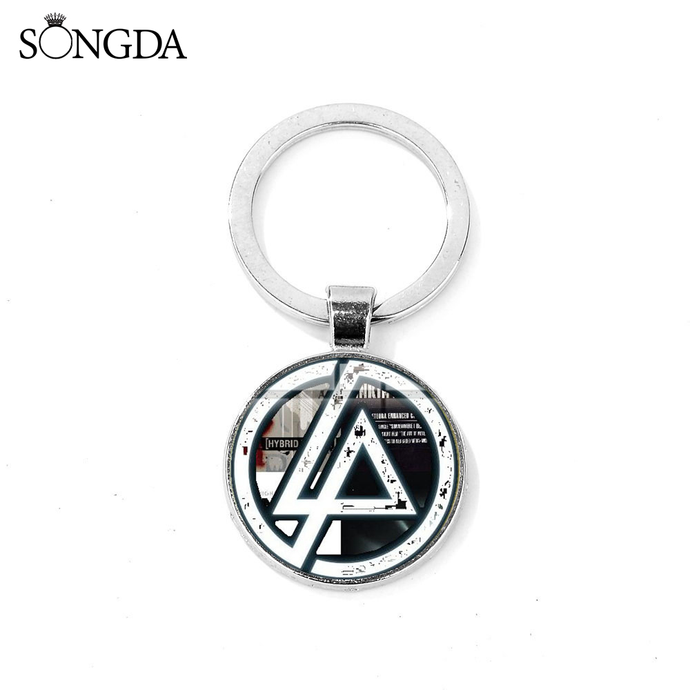 SONGDA Classic Linkin Park Logo Glass Pendant Key Chain Ring Nu-Metal Music Band Souvenir Keychain For Fans Bag Car Accessories