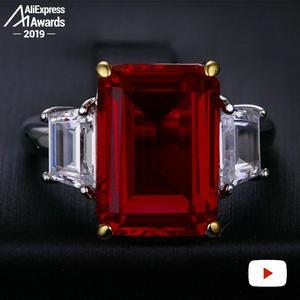 Image 3 - 14*10mm Emerald Cut    S925 Sterling Silver Ring SONA Diamond citrine sapphire amethyst ruby