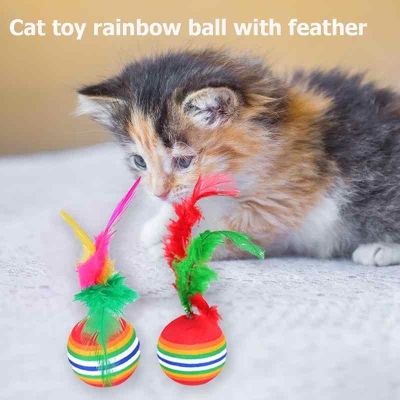 12 Uds juguete interactivo para gatos divertido juguete con arcoiris bolas con plumas juguetes para gatos juguete para masticar gatos coloridos juguetes para mascotas
