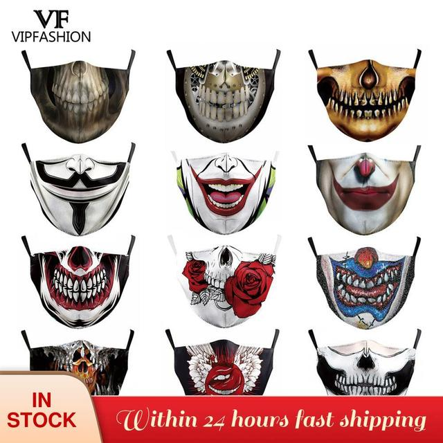 VIP FASHION Funny Big Mouth Print Grimace Ghost Skeleton Face Mask Washable Fabric Reusable Breathable Party Mask