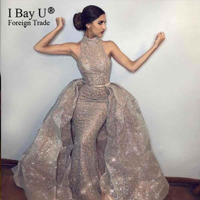 Sparkle Glitter Lace Long Evening Dress Plus Size 2020 Mermaid Detachable Train Arabic Dudai Formal Prom Gown Robe De Soiree