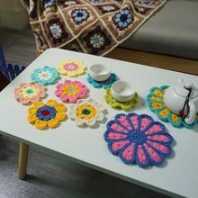 Decoration Crochet Doilies Handmade Crochet Cup Pad Multicolor Flowers Coasters Round Table Mats 8cm Wool Clothes Patch 10pcs