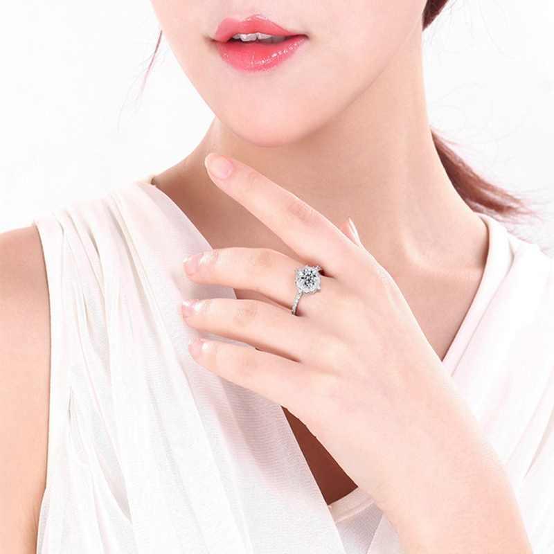 Hợp thời trang Pha Lê Đính Móng Vuốt Thiết Kế Cho Nữ, Nhẫn Nữ AAA Zircon Màu Trắng Khối Thanh Lịch Nhẫn Nữ Cưới Jewerly