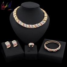 Yulaili Classic Tricolor Nigeria Wedding Jewelry Sets Crystal Metal Choker Earrings Bracelets Ring Charm Women Party Bijoux