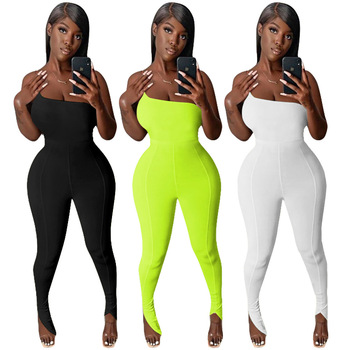 Sexy Off Shoulder Skinny Jumpsuit Summer Rompers Womens Solid Casual Fitness Overalls Jogging Femme One Piece